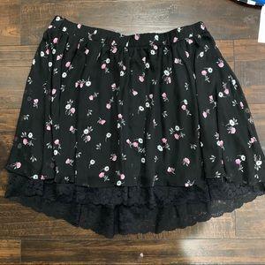 Torrid Black floral skirt